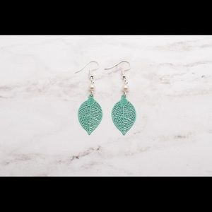Jewelry - Turquoise Leaf Filligree Teardrop Earrings